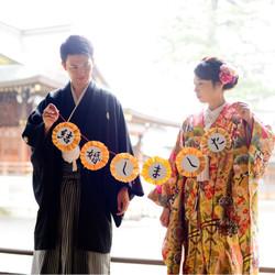 色打掛け 黒紋付袴 神社