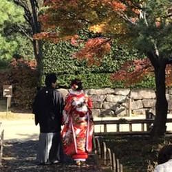 和装 ロケーション 庭園 色打掛 紅葉