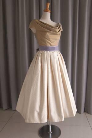 7枚目 olive silk taffeta top&silk jacquard mide dress