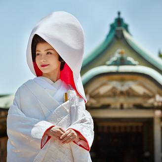神前式は白無垢が人気。古式ゆかしい京都の花嫁になれる。