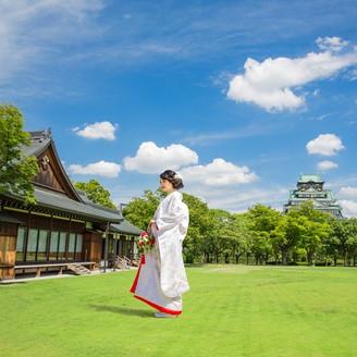 大阪城の眺めと、四季折々の自然が包む唯一無二のロケーション。この場所ならではの一枚を残して。