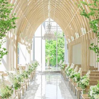 高い天井にアーチを描く繊細なホワイトウッドと、窓からの自然光が木漏れ日のように心地よい