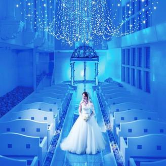 星々が祝福する 幸せの青い光の世界での結婚式 ブルースターウエディング