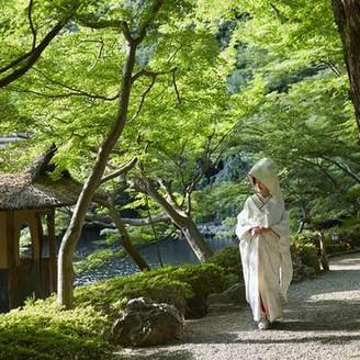 日本庭園の緑と白無垢のコントラストがよく映える