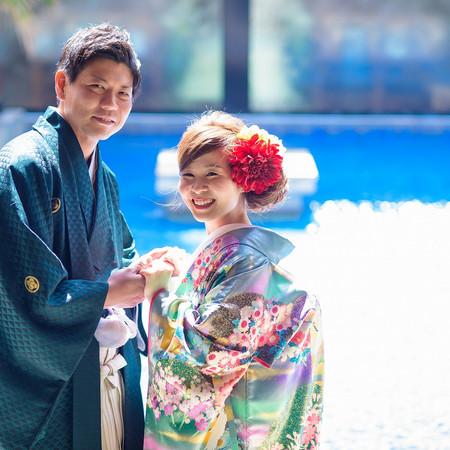 プールサイド 和装 色打掛 紋付袴