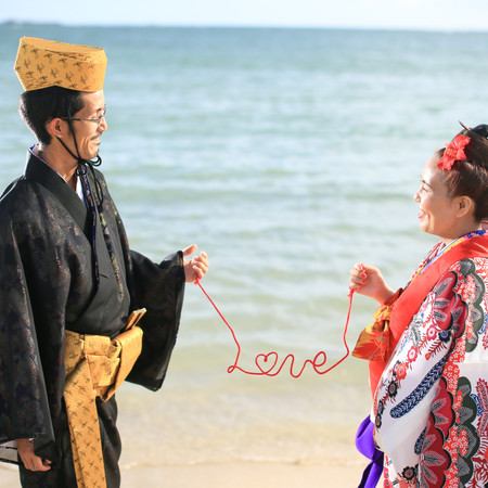 沖縄 ロケーション 琉球衣装 ウチナーカンプー 赤い糸 海