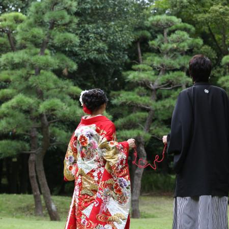 手作り小物 和装 ロケーション 色打掛 庭園 紋付袴 引き振袖 赤い糸