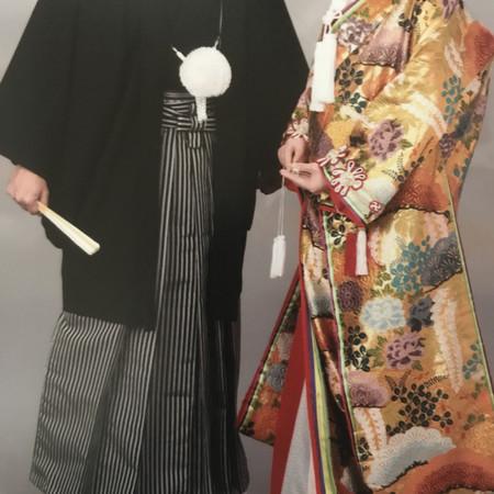 色打掛け 黒紋付袴 スタジオ