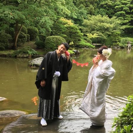 糸電話 和装 ロケーション 庭園 白無垢 色打掛 紋付袴 日本庭園
