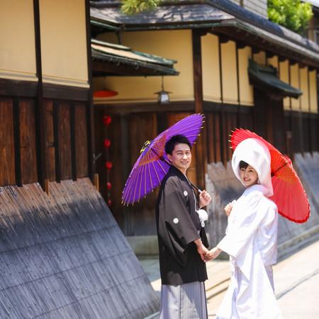 和装 前撮り 京都 ロケーション 白無垢 綿帽子 番傘 紋付袴