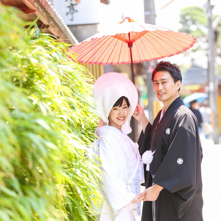 和装 前撮り 京都 ロケーション 白無垢 綿帽子 紋付袴 番傘