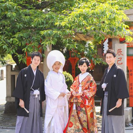 和装 前撮り 京都 ロケーション 白無垢 色打掛け 家族 姉妹 紋付袴