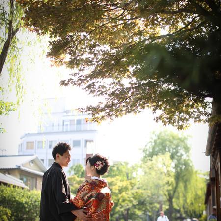 和装 前撮り 京都 ロケーション 色打掛 紋付袴 緑