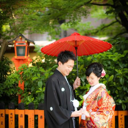 和装 前撮り 京都 ロケーション 色打掛 紋付袴 番傘