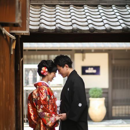 和装 前撮り 京都 ロケーション 色打掛 紋付袴