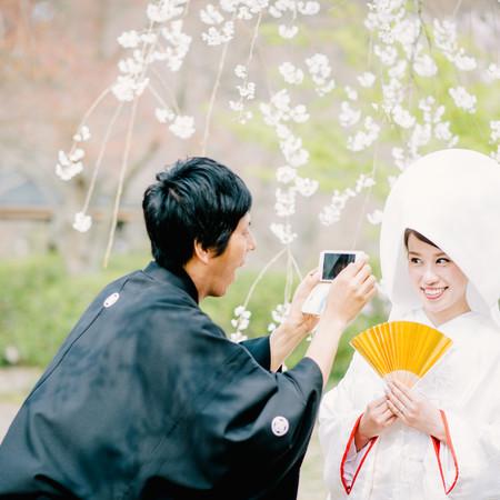 和装 白無垢 紋付袴 ロケーション 桜 スマホ 庭園 綿帽子