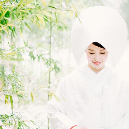 和装 白無垢 綿帽子 ロケーション 竹