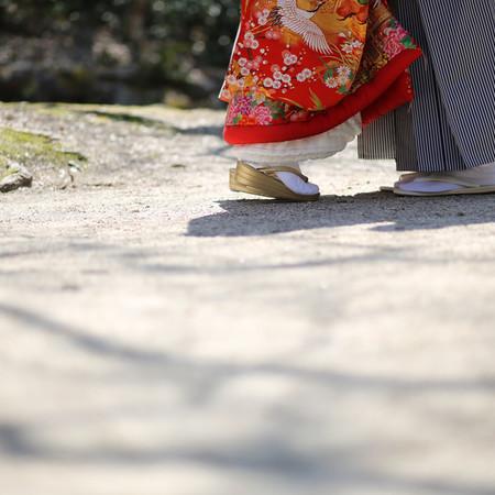 和装 ロケーション 色打掛 観光地 世界遺産 宮島 紋付袴