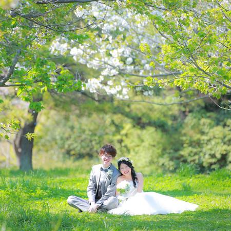 緑 葛西臨海公園 春 ドレス ロケーション 楽しい 4月 花かんむり ナチュラル