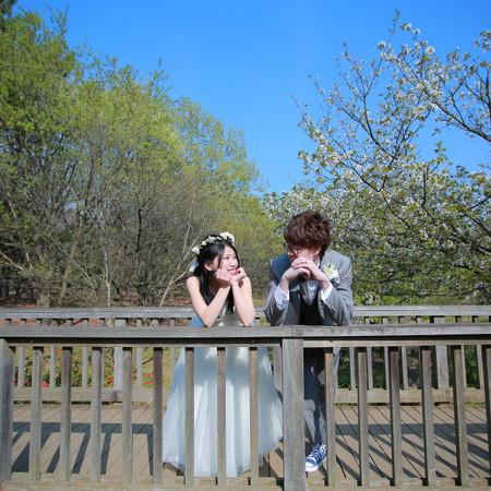 緑 青空 仲良し 見つめ合う 桜 葛西臨海公園 春 ドレス ロケーション 楽しい 4月 花かんむり ナチュラル