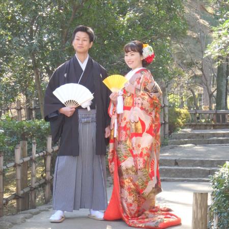 黒紋付袴 色打掛け 神社