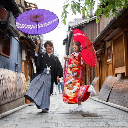 和装 色打掛 ロケーション 京都 紫陽花 番傘