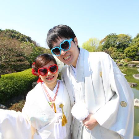 和装 ロケーション 白無垢 庭園 桜 紋付袴