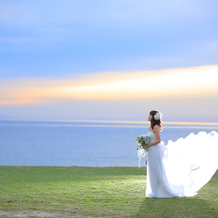 ロケーション 海 ウェディングドレス
