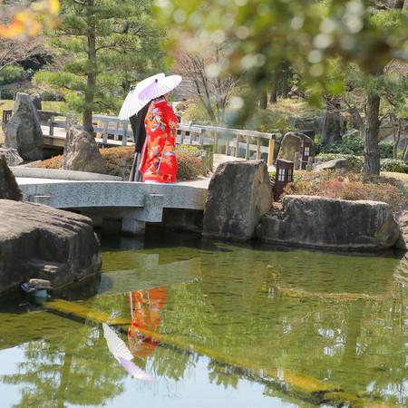 和装 ロケーション 色打掛 紋付袴 観光地 庭園