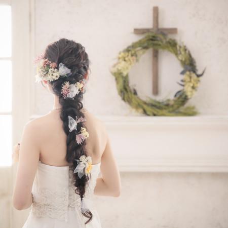 ドレス ウェディングドレス スタジオ ハウススタジオ チャペル ロングヘア ラプンツェル ラプンツェルヘア 編み下ろし 造花 チュール 和装 洋装