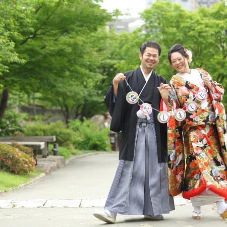 ロケーション 和装 庭園 観光地 紋付袴 色打掛 ドレス タキシード ウェディングドレス