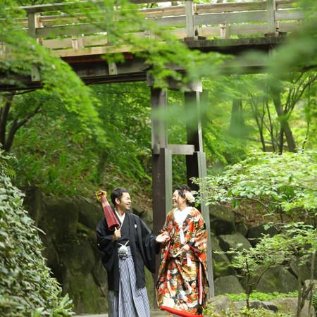 和装 ロケーション 色打掛 紋付袴 庭園 観光地 ドレス タキシード ウェディングドレス