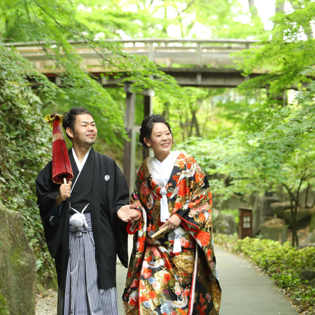 和装 ロケーション 紋付袴 庭園 観光地 色打掛 ドレス タキシード ウェディングドレス