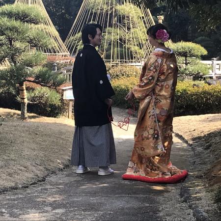 和装 ワイヤーアイテム ハート 色打掛 ロケーション 紋付袴 庭園