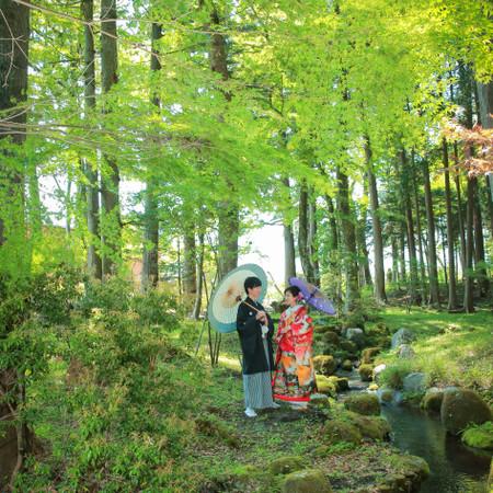 緑 色打掛け 黒紋付袴 番傘