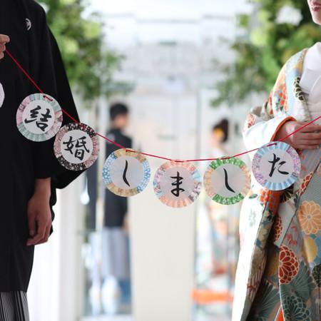 和装 スタジオ フォトウェディング チャペル 色打掛 紋付袴