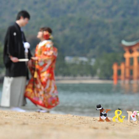 イニシャルオブジェ 和装 色打掛 ロケーション 観光地 広島 宮島