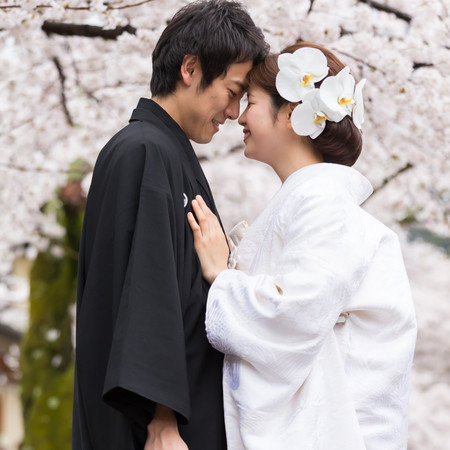 和装 白無垢 ロケーション 観光地 紋付袴 桜