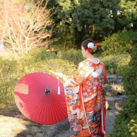 和装 ロケーション 色打掛 紋付袴 庭園