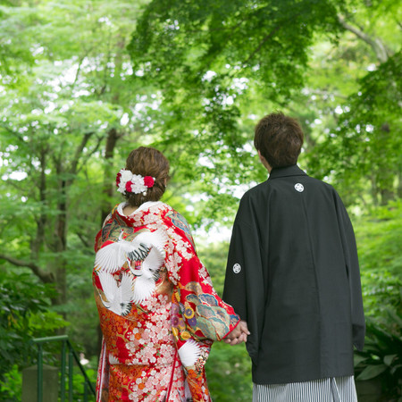 和装 ロケーション 色打掛 白無垢 紋付袴 観光地 北鎌倉 鎌倉 前撮り 新緑
