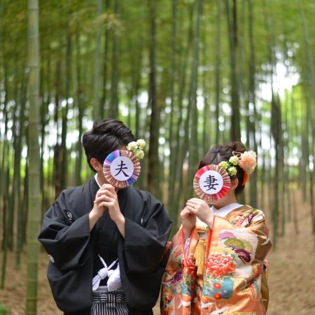 和装 紋付袴 ロケーション 庭園 色打掛 竹林 水戸
