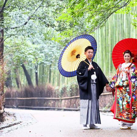番傘 和装 スタジオ ロケーション 京都 嵐山 色打掛 前撮り