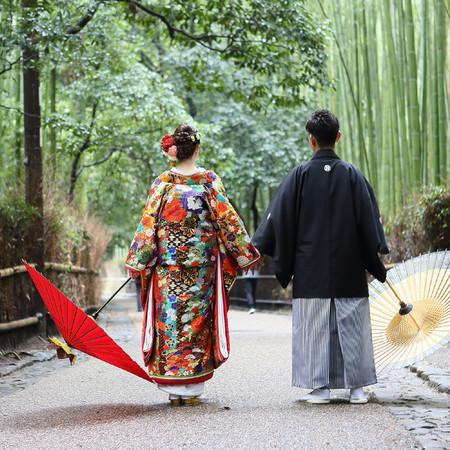 和装 スタジオ ロケーション 京都 嵐山 色打掛 前撮り