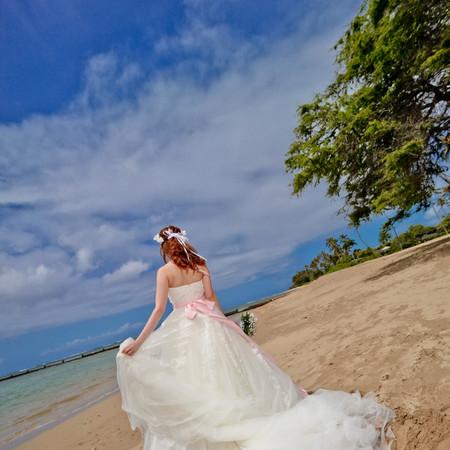 ドレス ロケーション 観光地 ウェディングドレス タキシード 海 ハワイ ビーチフォト ウィンクル ラビアンローゼ ハネムーン