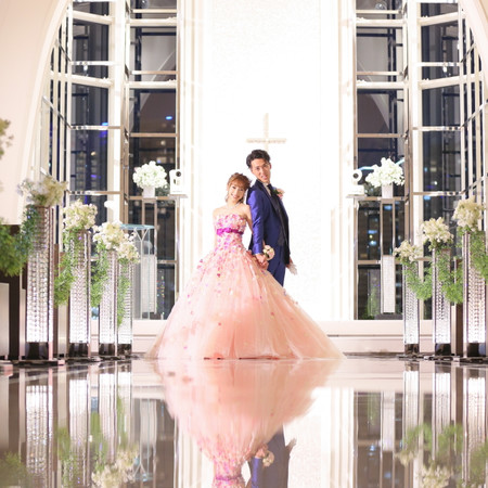 ガラスのチャペル カラードレス タキシード 式場前撮り