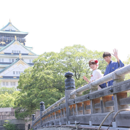 和装 ロケーション 白無垢 紋付袴 観光地 庭園 大阪城 城 格式