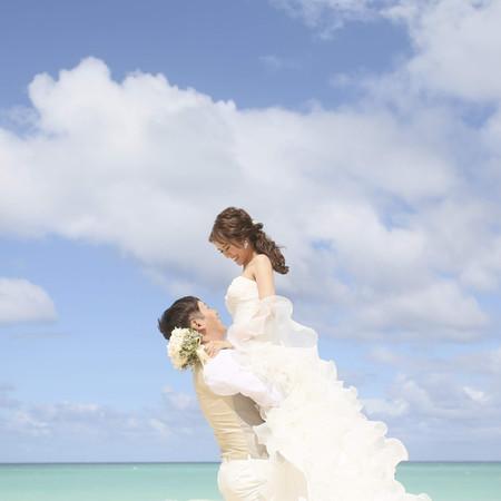#ビーチ#空#だっこ#ロケーション#ハワイ#ドレス#タキシード