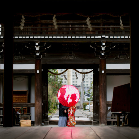 和装 神社 番傘