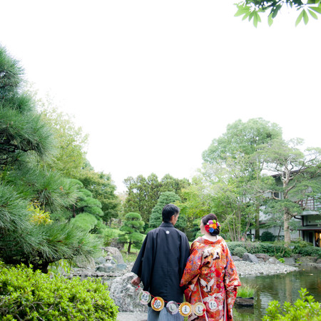 色打掛 ロケーション 庭園 和装 紋付袴