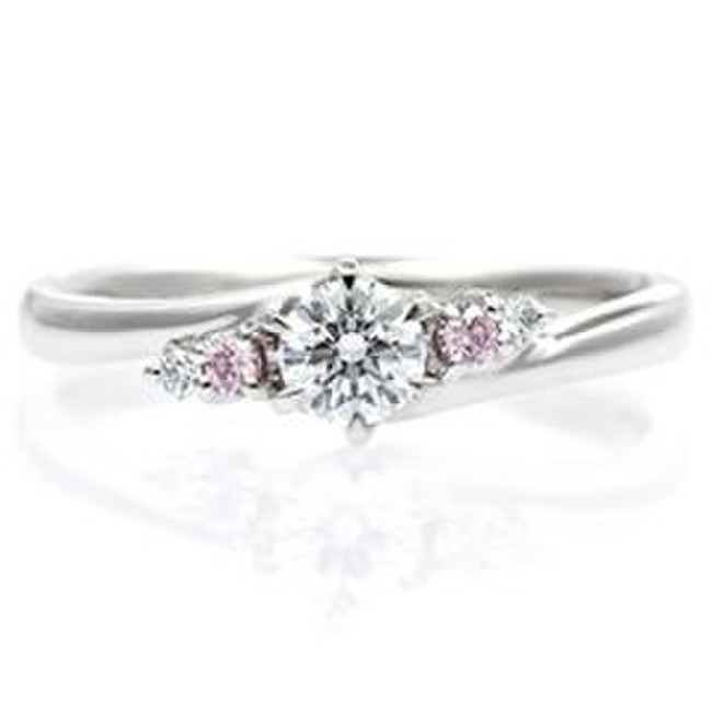 PT900 ウェーブライン ピンク/ホワイトダイヤモンドリング for 0.2ct